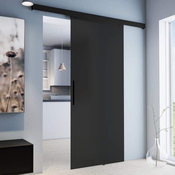 Porte coulissante intérieure, 90 x 203 cm, verre opaque anthracite,