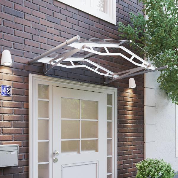Auvent marquise de porte LT-Line 148 x 91 cm, transparent, fixation inox