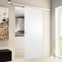 Porte intérieure coulissante 88 x 203 cm, bois blanc Poignée ronde