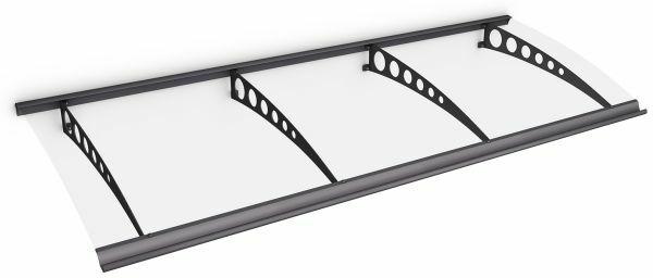 Auvent marquise de porte Style Plus 240 x 90 cm, polycarbonate transparent, fixation acier anthracite, Circle