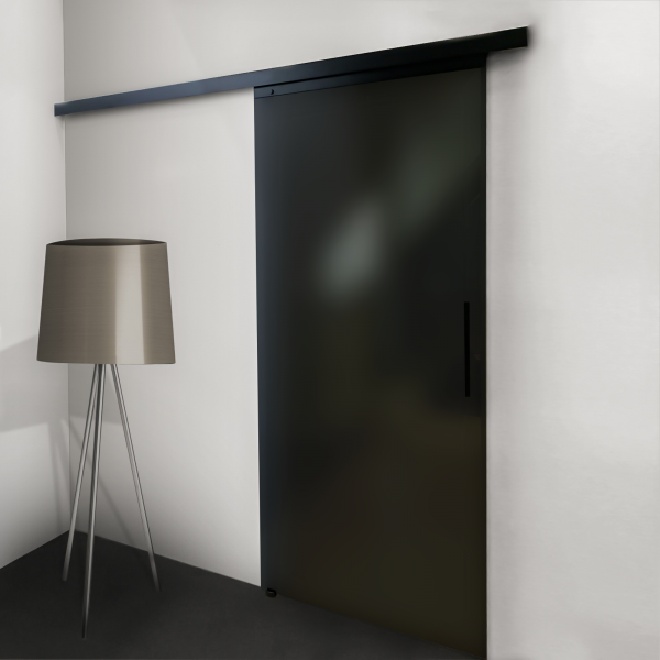 Porte coulissante intérieure, 90 x 203 cm, verre opaque anthracite, poignée  noire