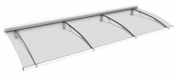 Auvent marquise de porte LT-Line 270 x 95 cm, transparent, fixation blanche
