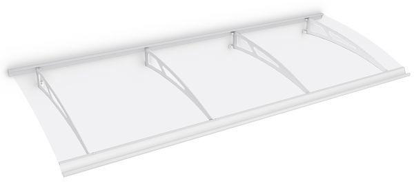 Auvent marquise de porte Style Plus 240 x 90 cm, polycarbonate transparent, fixation acier blanc, Classic