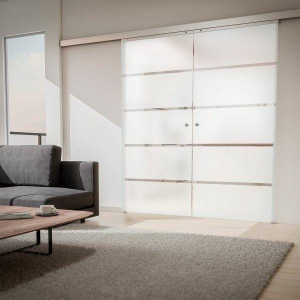 Porte intérieure coulissante 176 x 203 cm, verre dépoli, 2 vantaux