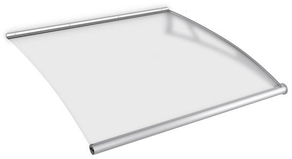 Auvent marquise de porte LT-Line 121 x 142 cm, module d'extension, opaque, fixation inox brossé mat