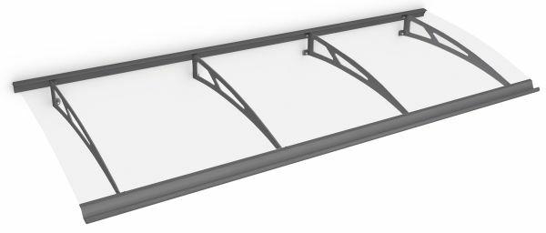 Auvent marquise de porte Style Plus 240 x 90 cm, polycarbonate transparent, fixation acier anthracite, Classic