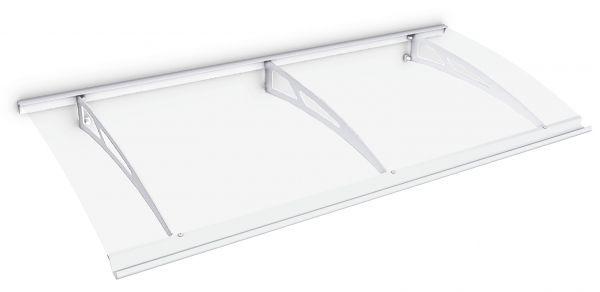 Auvent marquise de porte Style Plus 200 x 90 cm, polycarbonate transparent, fixation acier blanc, Classic