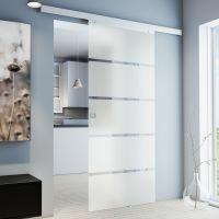 Porte intérieure coulissante en verre, 88 x 203 cm, larges bandes sablées Quadratgriff