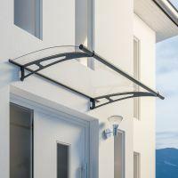Auvent marquise de porte LT-Line 150 x 95 cm, transparent, fixation anthracite