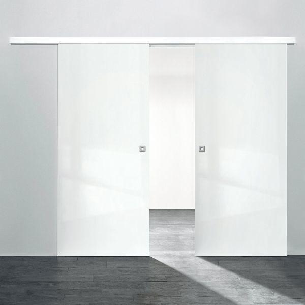 Porte intérieure coulissante 151 x 203 cm, bois blanc brillant, 2 vantaux