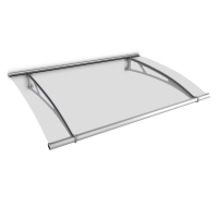 Auvent marquise de porte XL 205 x 142 cm, transparent, fixation inox