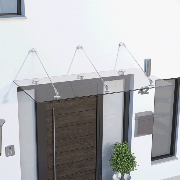 Auvent marquise de porte Davita 180 x 90 cm, verre de sécurité 12 mm, fixations inox (V2A)
