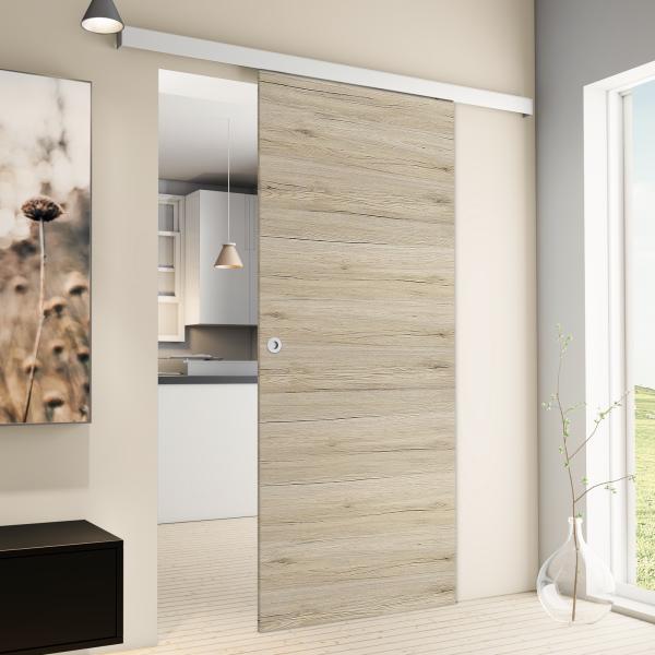 Porte intérieure coulissante 88 x 203 cm, bois chêne San Remo