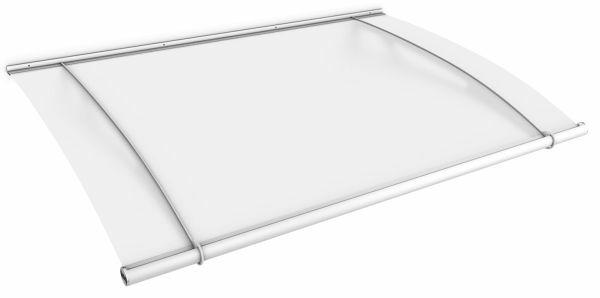 Auvent marquise de porte XL 205 x 142 cm, opaque, fixation blanche