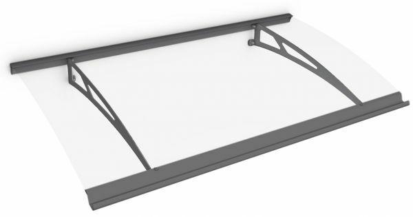 Auvent marquise de porte Style Plus 160 x 90 cm, polycarbonate transparent, fixation acier anthracite, Classic