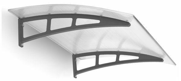 Auvent marquise de porte Twinline 138x94cm, polycarbonate, fixation anthracite