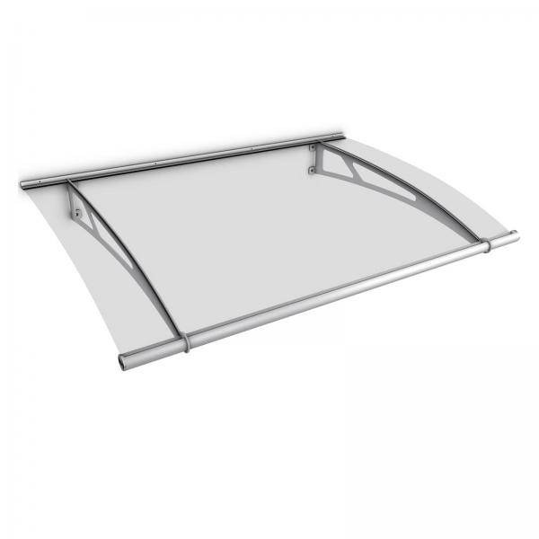 Auvent marquise de porte XL 205 x 142 cm, transparent, fixation inox V2A et V4A