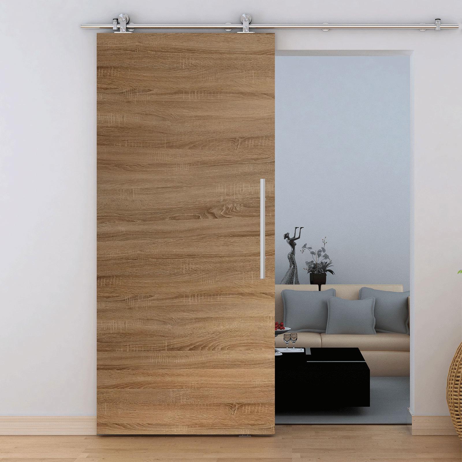 porte int rieure coulissante 90 x 206 cm ch ne rail apparent inova maison. Black Bedroom Furniture Sets. Home Design Ideas