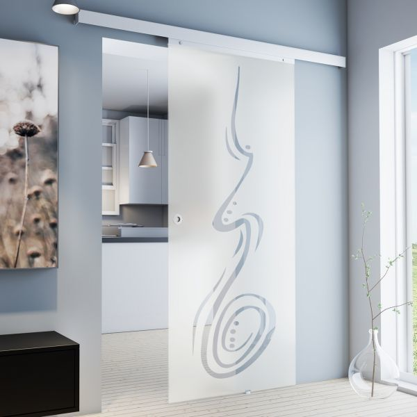 Porte intérieure coulissante en verre, 88 x 203 cm, décor curved