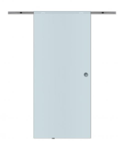 Porte intérieure coulissante 88 x 208 cm, verre opaque, système apparent