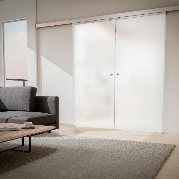 Porte intérieure coulissante 176 x 203 cm, verre opaque, 2 vantaux