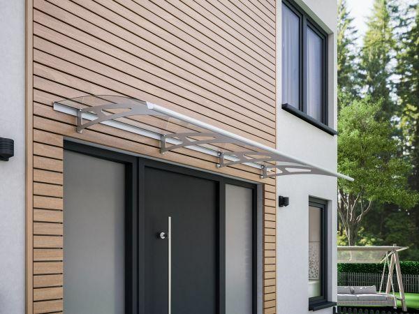 Auvent marquise de porte Style Plus 240 x 90 cm, polycarbonate transparent, fixation inox, Classic