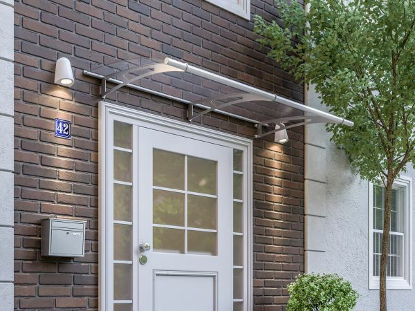 Auvent marquise de porte LT-Line 200 x 95 cm, transparent, fixation inox