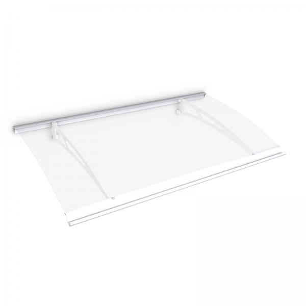 Auvent marquise de porte Style Plus 160 x 90 cm, polycarbonate transparent, fixation acier blanc, Classic