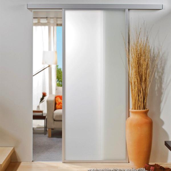 Porte intérieure coulissante en verre 74 x 203 cm, blanc mat, cadre alu