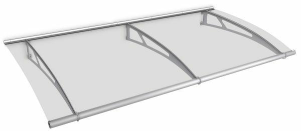 Auvent marquise de porte LT-Line 287 x 142 cm, transparent, fixation inox brossé mat
