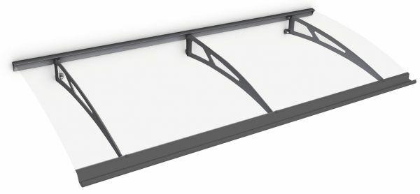 Auvent marquise de porte Style Plus 200 x 90 cm, polycarbonate transparent, fixation acier anthracite, Classic