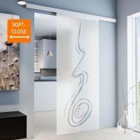 Porte intérieure coulissante en verre, 75 x 203 cm, décor curved Griffmuschel+Softclose