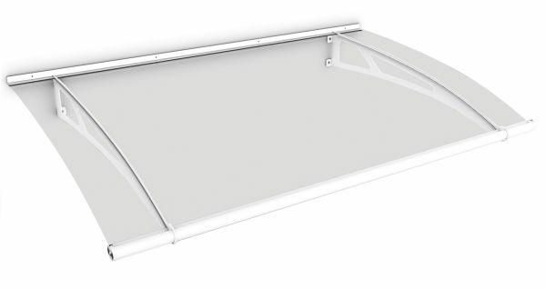 Auvent marquise de porte LT-Line 150 x 95 cm, transparent, fixation blanche