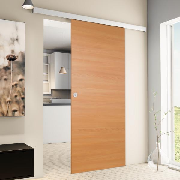 Porte intérieure coulissante 88 x 203 cm, bois d'hêtre