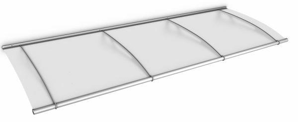 Auvent marquise de porte LT-Line 270 x 95 cm, opaque, fixations inox