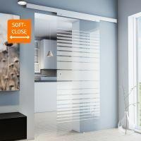 Porte intérieure coulissante en verre 88 x 203 cm, rayures sablées Griffmuschel+Softclose