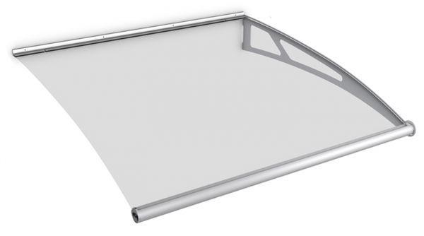 Auvent marquise de porte LT-Line 121 x 142 cm, module d'extension, transparent, fixation inox brossé mat
