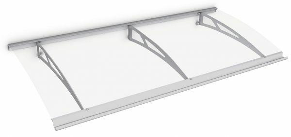 Auvent marquise de porte Style Plus 200 x 90 cm, polycarbonate transparent, fixation inox, Classic