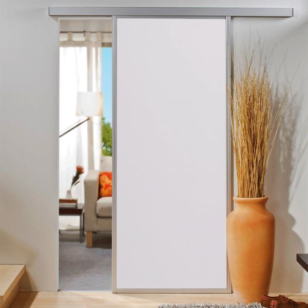Porte intérieure coulissante 86 x 203 cm, bois blanc, encadrement alu