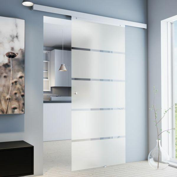 Porte intérieure coulissante en verre dépoli, 88 x 203 cm, Poignée pour visser