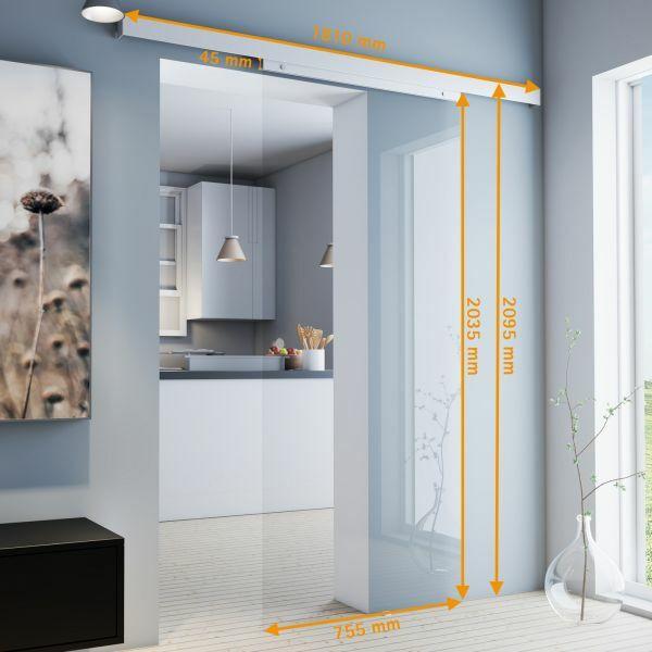 Porte intérieure coulissante, 75 x 203 cm, verre transparent
