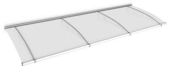 Auvent marquise de porte LT-Line 270 x 95 cm, opaque, fixation blanche
