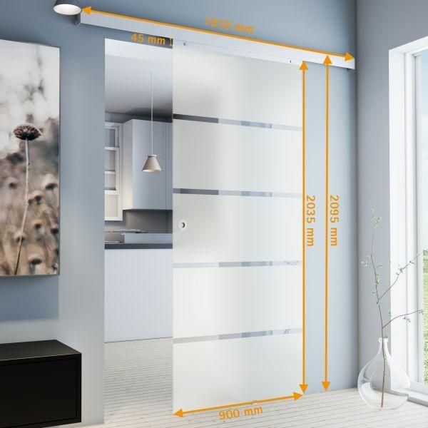 Porte intérieure coulissante en verre dépoli , 90 x 203 cm