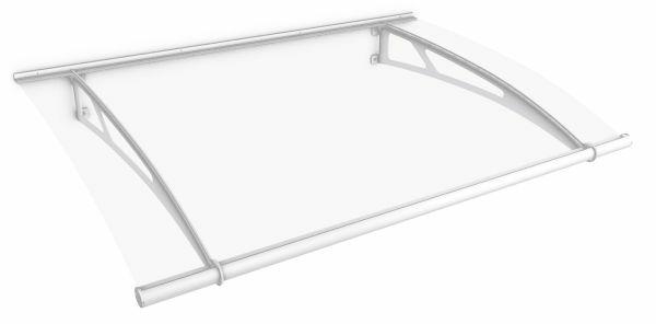 Auvent marquise de porte XL 205 x 142 cm, transparent, fixation blanche