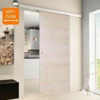 Porte intérieure coulissante 88 x 203 cm, bois d'érable Poignée carrée