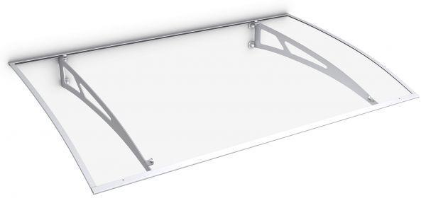 Auvent marquise de porte Lyra 2, 140 x 89 cm, polycarbonate, fixation blanche