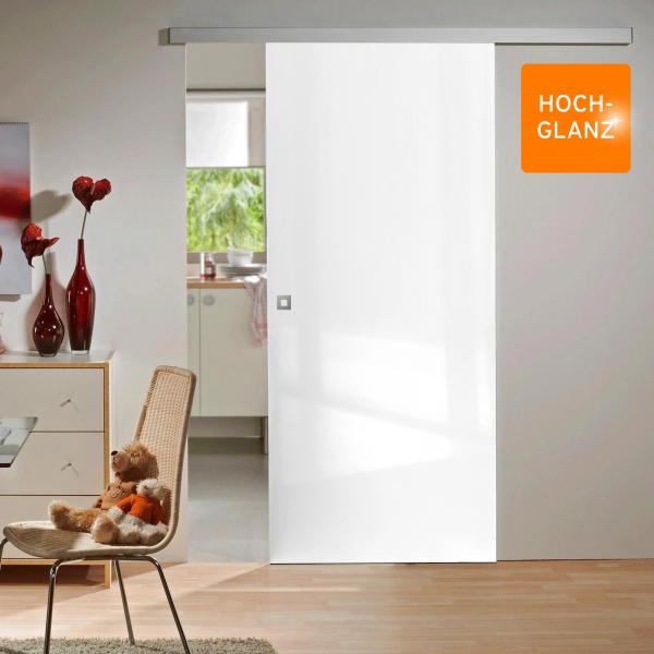 Porte intérieure coulissante 88 x 203 cm, bois blanc brillant