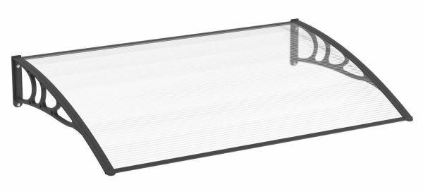 Auvent marquise de porte 120 x 80 cm, polycarbonate alvéolaire, fixation plastique noir