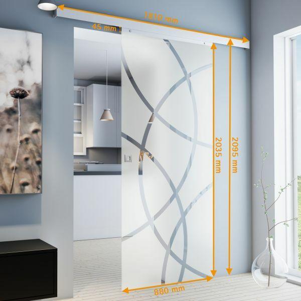 Porte intérieure coulissante en verre, 88 x 203 cm, décor cercles