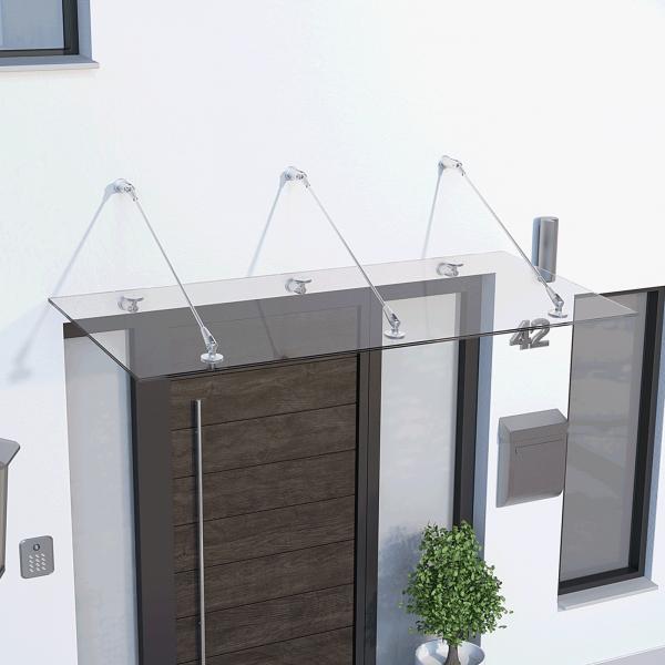 Auvent marquise de porte Davita 160 x 90 cm, verre de sécurité 12 mm, fixations inox